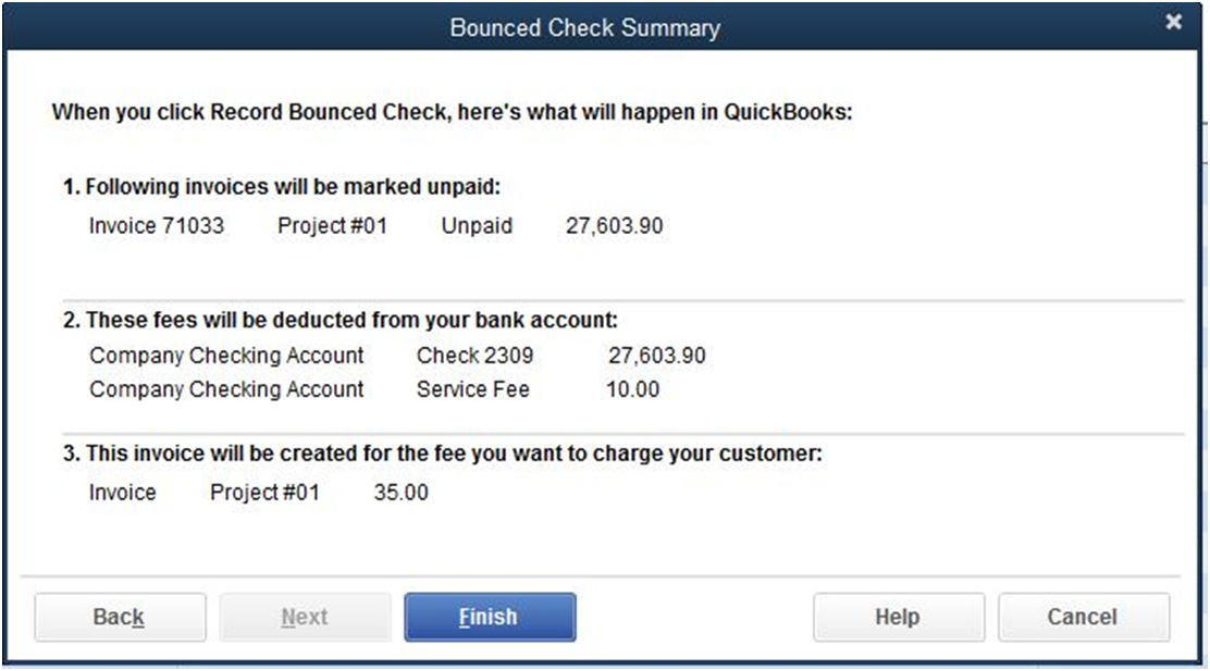 now the customer payment will have bounced check marked at the top